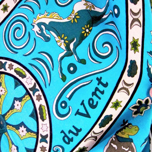 Hermes Turquoise Vert Peuple Du Vent Cashmere Silk GM Shawl Scarf Superb Rare