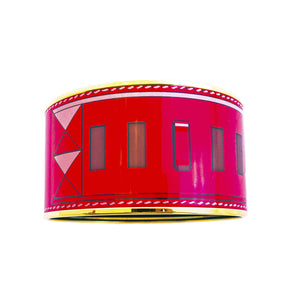 Hermes XL Rouge Red Printed Collier de Chien CDC Enamel Bangle Bracelet