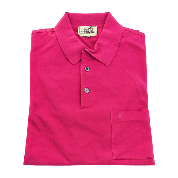 Hermes Rose Indian Men's Polo Short Sleeve Hot Pink Cotton Large Spring!