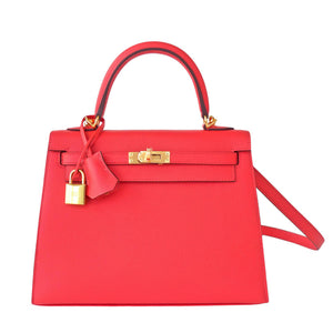 Hermes 25cm Rose Jaipur Coral Pink Red Sellier Epsom Kelly Bag Gold Jewel