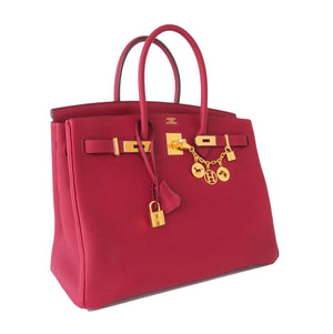 Hermes Rouge Grenat Red Togo 35cm Birkin Bag Gold Hardware GHW Exquisite