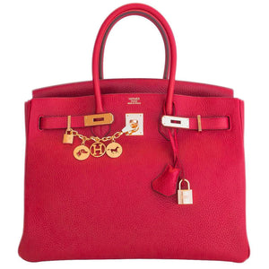 Hermes Rouge Casaque Lipstick Red 35cm Birkin Gold GHW Gorgeous
