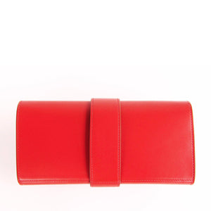 Hermes Sanguine Red Permabrass Medor Pochette Tadelakt Bag Clutch