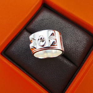 Hermes Solid Silver Collier de Chien CDC Ring 54 or 6.5
