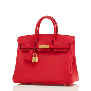 Hermes Vermillion 25cm Swift Birkin Gold Hardware