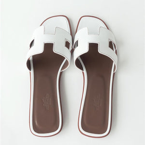 Hermes White Oran Leather Box Calfskin Sandals 39
