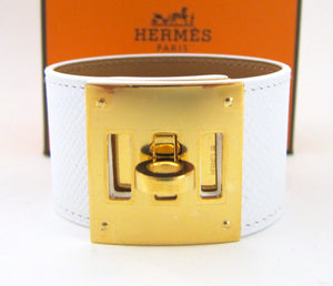 Hermes White Epsom Kelly Dog with Gold Hardware