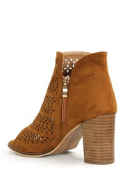Aringo Perforated Block Heel Peep Toe Bootie