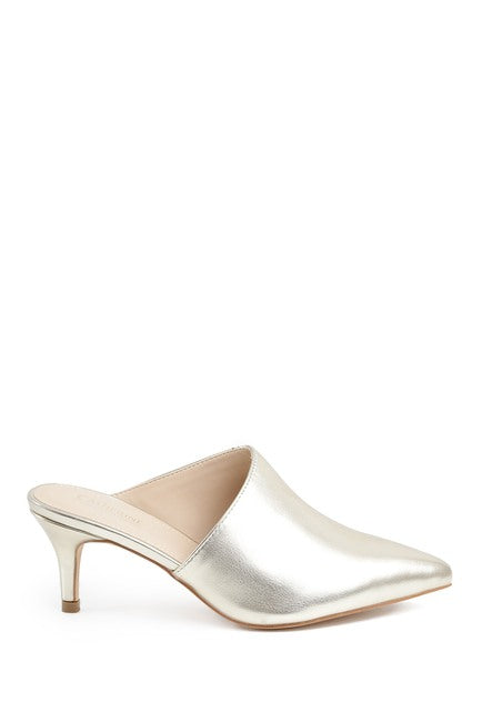 Lemka Pointed Toe Asymmetrical Kitten Heel Mule