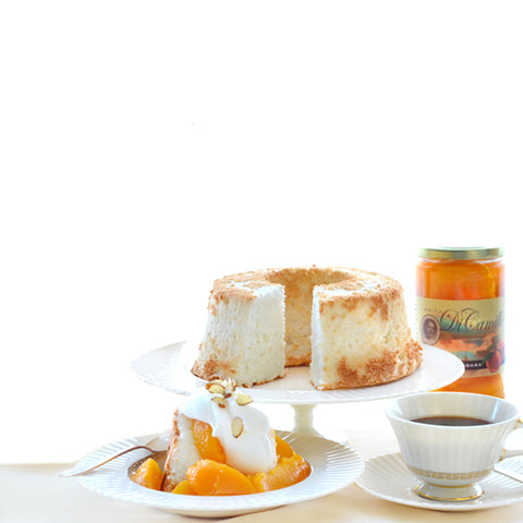 MOTHER'S DAY ANGEL FOOD CAKE, PEACHES NIAGARA & 2 FREE LARGE BISCOTTI