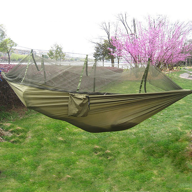 Single Person Portable Parachute Fabric Mosquito Net Hammock - Broad Masters, Inc.