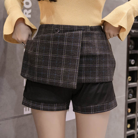 Winter plaid culotte skort - Carpe Item
