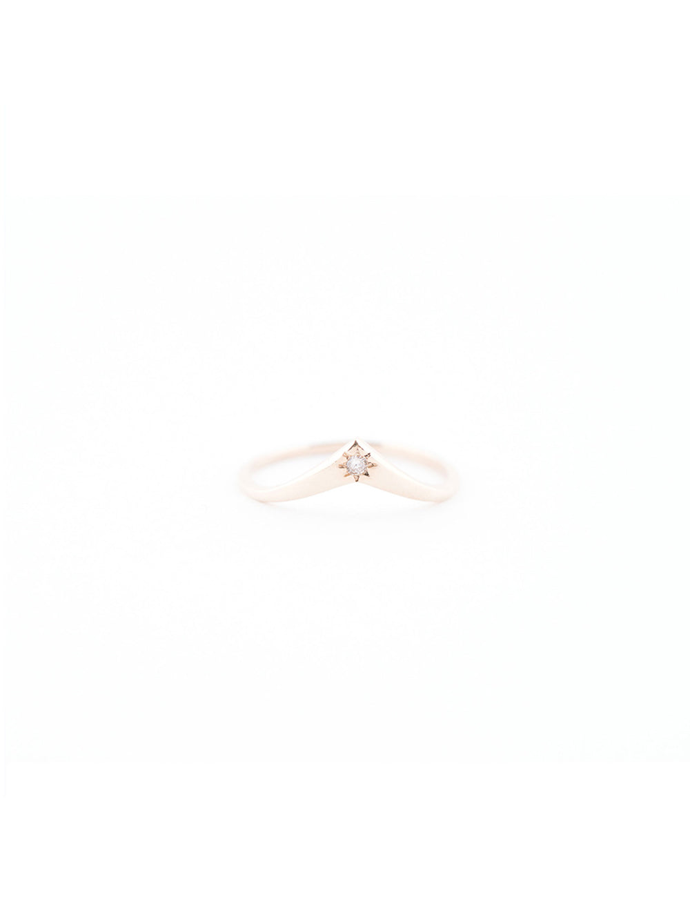 Genie Ring with White or Black Conflict Free Diamond