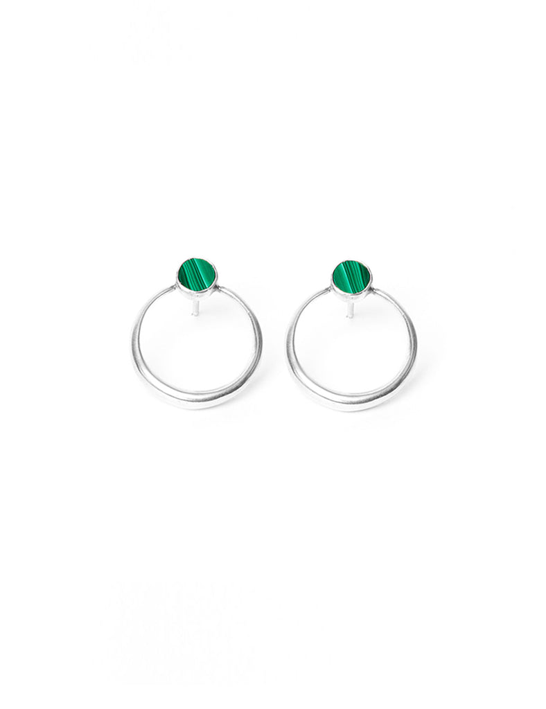 Shu Stud Earrings with Malachite