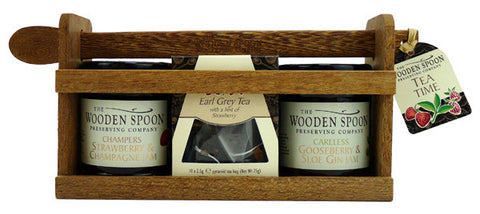 Tea Time: Strawberry & Champagne Extra Jam, Gooseberry & Sloe Gin Extra Jam, Earl Grey Pyramid Teabags with twist of Berries 2 x 227g