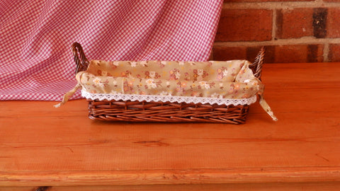 Small rectangular Wicker Tray with Floral Lining