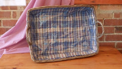 Rectangular Large Wicker Hamper with Blue Tartan Lining