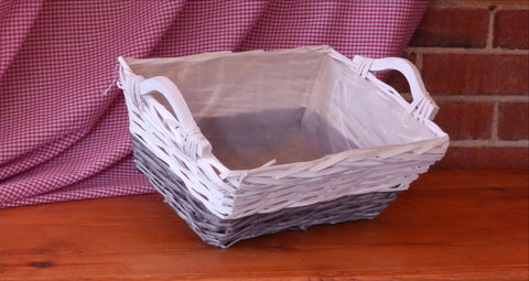 Large Two Tone White and Grey Wicker Basket