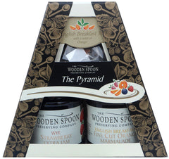 The Pyramid Breakfast Time - Fine Cut Orange, Strawberry Extra Jam, English Breakfast Tea with Twist of Orange 2 x 227g