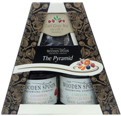 The Pyramid Tea Time: Strawberry & Champagne Extra Jam, Gooseberry & Sloe Gin Extra Jam, Earl Grey Pyramid Teabags with twist of Berries 2 x 227g in a gift box