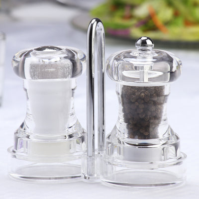 01630 4 Inch Capstan Acrylic Pepper Mill & Salt Shaker with Rack, Table View