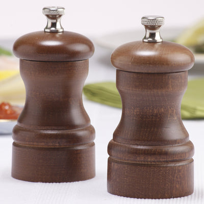 04102 4 Inch Capstan Pepper Mill & Salt Mill Set, Walnut, Table View