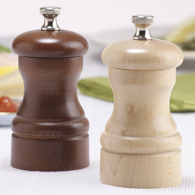 04202 4 Inch Capstan Pepper Mill & Salt Mill Set, Walnut & Natural, Table View