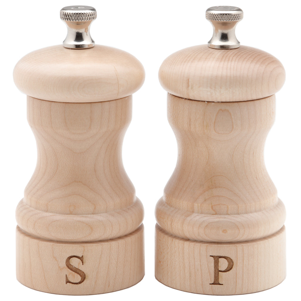 "Chef Specialties 4"" Capstan Pepper Mill & Salt Mill Set - Natural - S&P Edition"