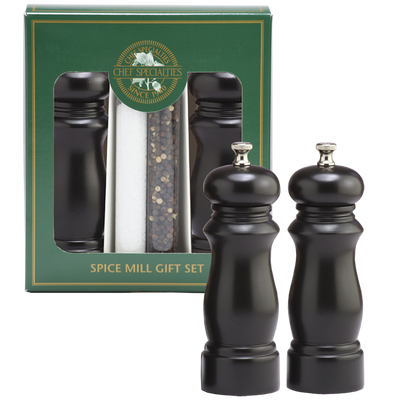 06307 6 Inch Elegance Pepper Mill & Salt Mill Gift Set, Ebony