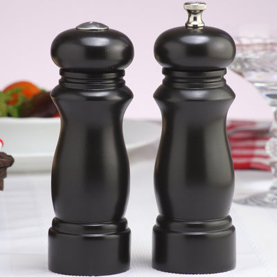 06307 6 Inch Salem Pepper Mill & Salt Shaker Gift Set, Ebony, Table View