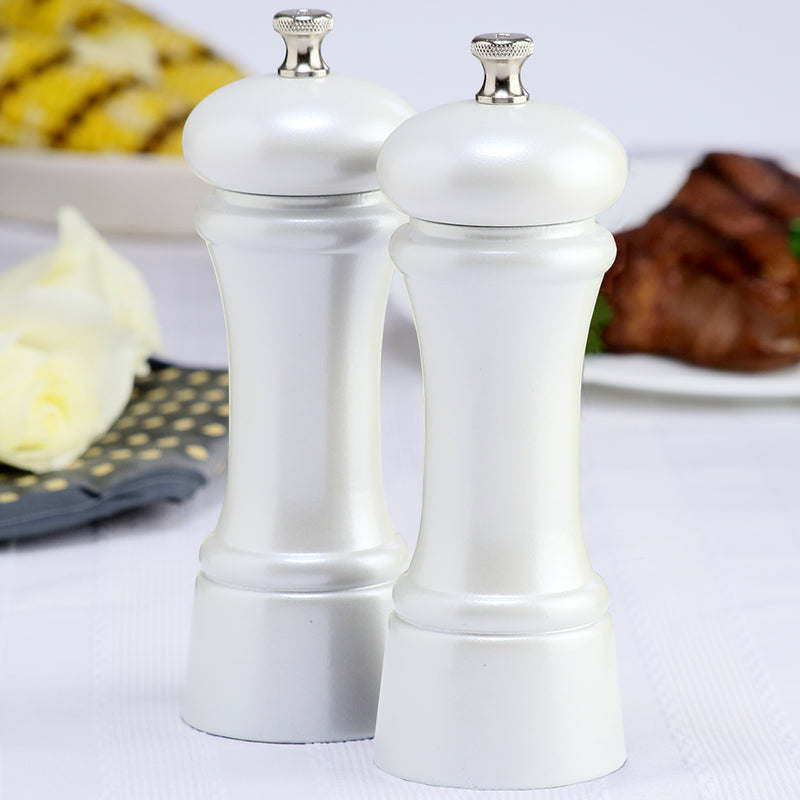 6 Inch Pepper Mill and Salt Mill Set with Pearl Metallic Finish 06802