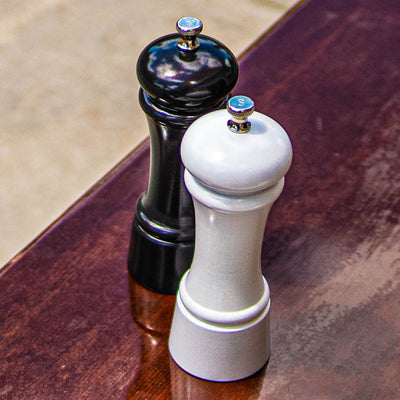 "Chef Specialties 6"" Elegance Pepper Mill & Salt Mill Set - Gunmetal + Pearl Metallic"