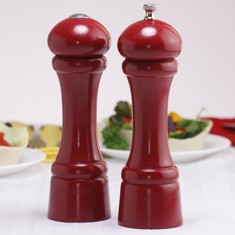 8 Inch Red Pepper Mill and Salt Shaker Set with Custom Monogram