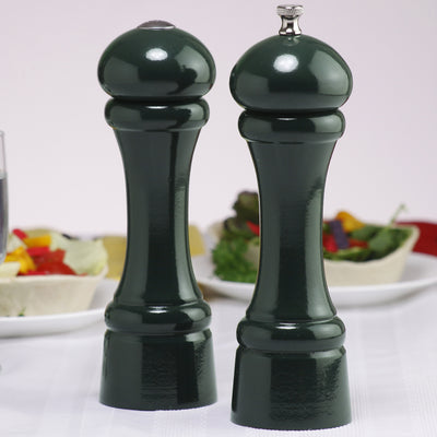 08800 8 Inch Windsor Pepper Mill & Shaker Set, Green, Table View