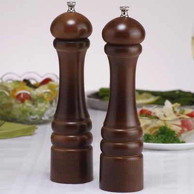 10102 10 Inch Imperial Pepper Mill & Salt Mill Set, Walnut, Table View