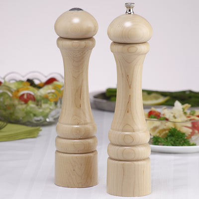 10200 10 Inch Imperial Pepper Mill & Shaker Set, Natural, Table View