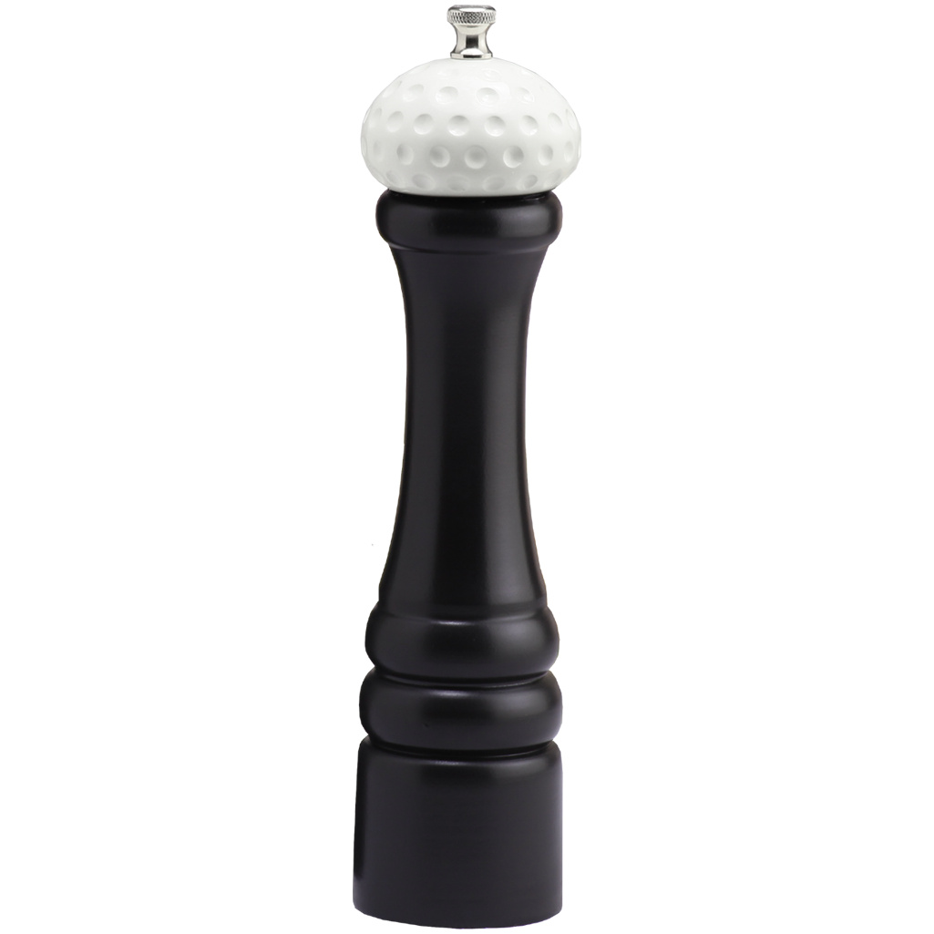 10510 10 Inch Pepper Mill with Black Finish and White Golf Ball Replica Resin Top