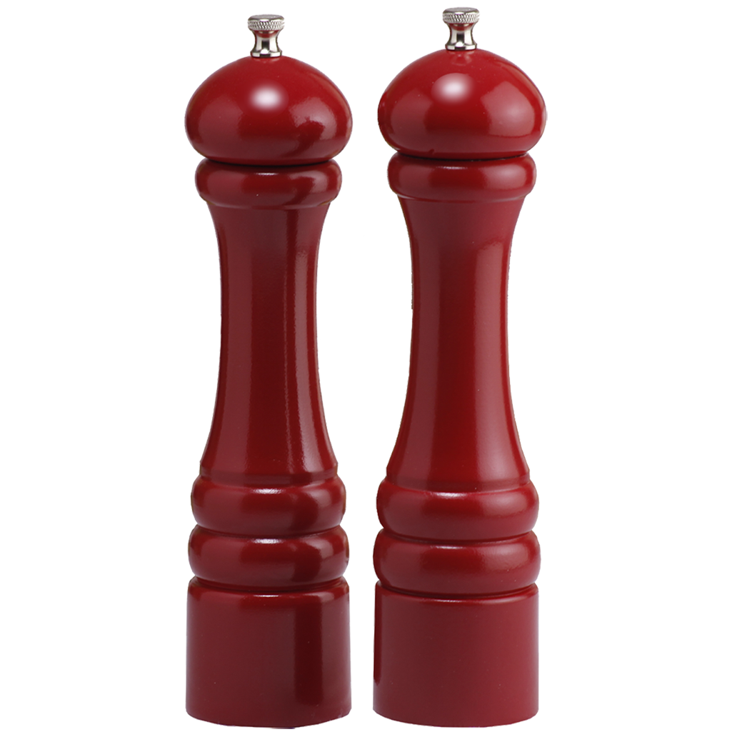 "Chef Specialties 10"" Imperial Pepper Mill & Salt Mill Set - Red"