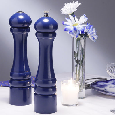10700 10 Inch Imperial Pepper Mill & Salt Shaker Set, Blue, Table View