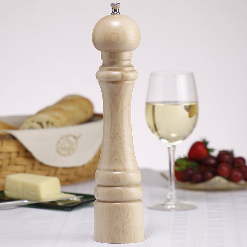 "Chef Specialties 12"" Custom Monogram Pepper Mill - Natural"