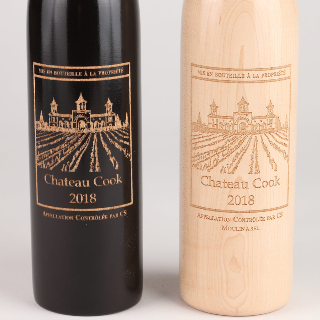16019 14.5 Inch Ebony and Natural Wine Bottle Set with Personalization, Close Up