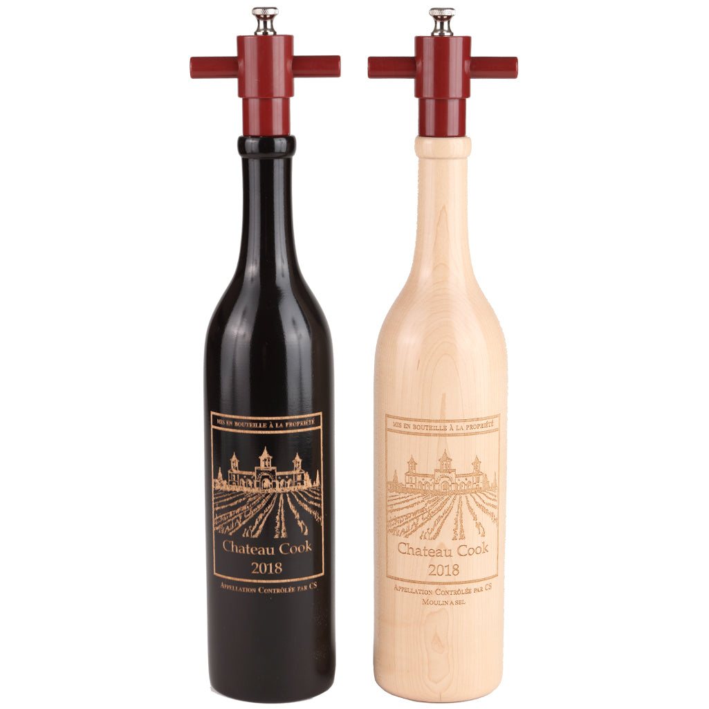 16019 14.5 Inch Ebony and Natural Wine Bottle Set with Personalization
