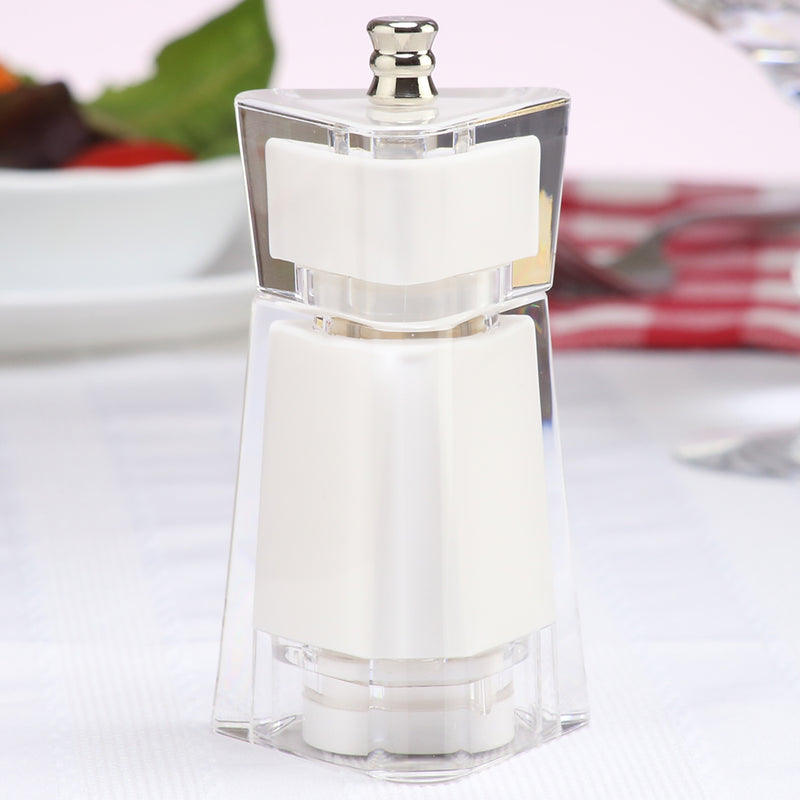 4.5 Inch White Acrylic Salt or Pepper Mill 29451