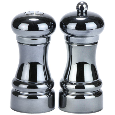 4 Inch Acrylic Pepper Mill and Salt Shaker Set with Black Chrome Finish 90040
