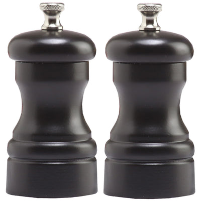 4 Inch Capstan Wood Pepper Mill and Salt Mill Set with Black Finish 04502