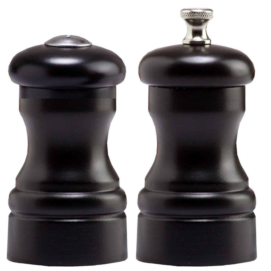4 Inch Capstan Wood Pepper Mill and Salt Shaker Set with Black Finish 04500