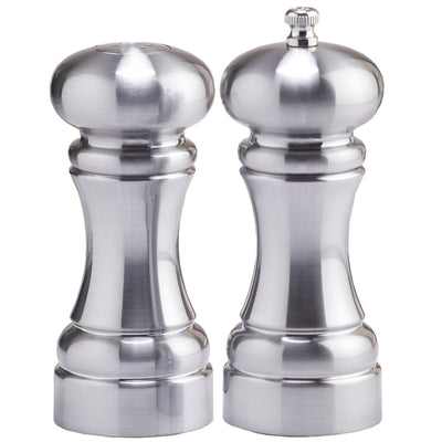 5 Inch Acrylic Pepper Mill and Salt Shaker Set with Brushed Stainless Finish 94500
