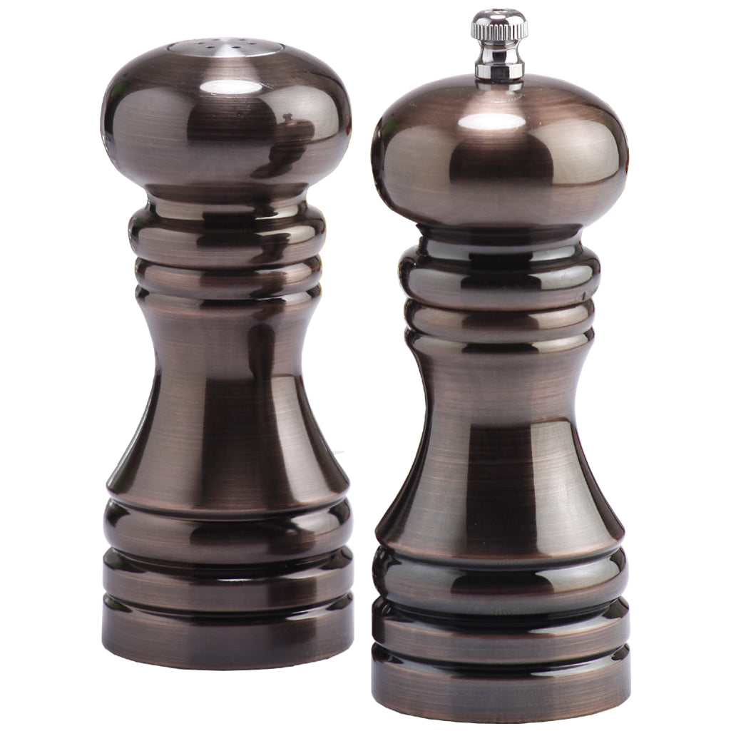 5 Inch Burnished Copper Pepper Mill and Salt Shaker Set 90050