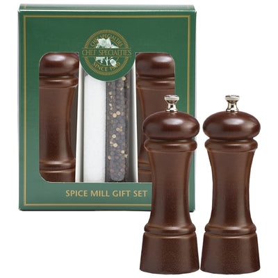 6 Inch Elegance Pepper Mill and Salt Mill Gift Set with Walnut Finish