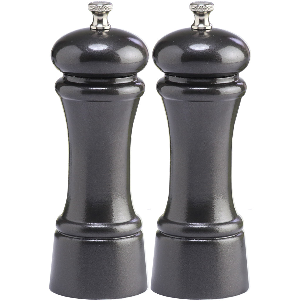 6 Inch Pepper Mill and Salt Mill Set with Gunmetal Metallic Finish 06602